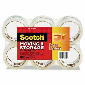 Scotch Moving Storage Tape 1 88 X 54 6yds 3 Core Clear 6 Rolls pack