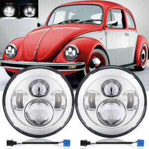 Pair 7inch Round Led Headlights Hi Lo Beam Projector For Volkswagen Beetle 50 79