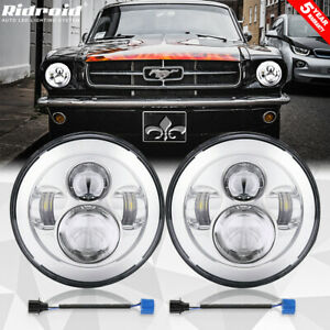 7 Inch Round Led Headlight Hi lo Beam Projector Lamp For Ford Mustang 1965 1978