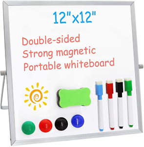 Small Dry Erase White Board For Desk 12 X 12 double Sided Whiteboard Include