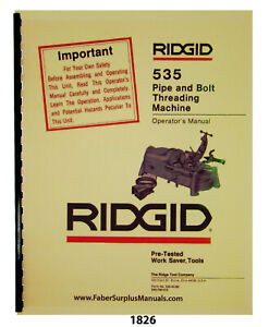 Rigid Model 535 Pipe Bolt Threading Machine Operator Parts List Manual 1826