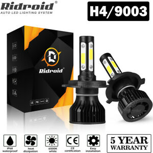 4 sides Cree H4 9003 375000lm 2500w Led Headlight Kit Hi lo Beam Bulbs 6000k New