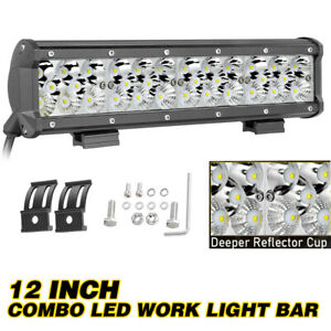 12 Inch 200w Cree Led Work Light Bar Flood Spot For Atv Utv Boat Driving Offroad