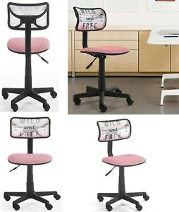 Armless Home Office Computer Desk Chair Swivel Printed Mesh Back Padded Seat