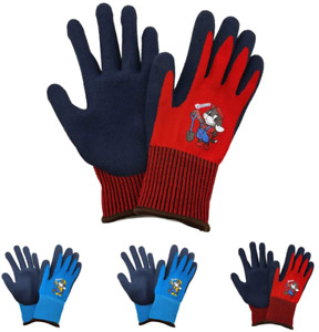 Kids Work Gloves 4 Pairs Polyester Seemless Knitted With Latex Sandy Finish Co