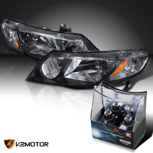 For 2006 2011 Honda Civic Sedan 4dr Jdm Black Headlights 2x Halogen Light Bulbs