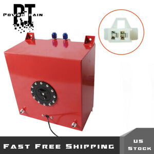 10 Gallon Coated Aluminum Racing drifting Fuel Cell Gas Tank level Sender Red
