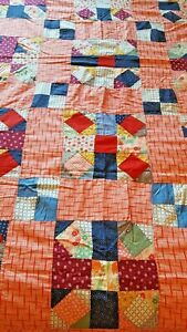 Antique Vintage Patchwork Quilt Top Feedsack Prints Red Blue Green 70x72