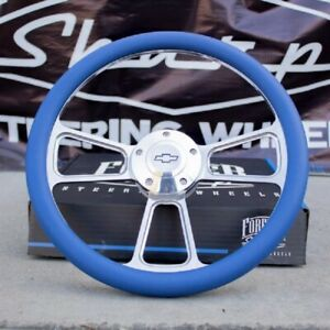 14 Billet Blue Steering Wheel For Chevy Blue Wrap And Chevy Horn Button