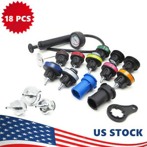 18pcs Radiator Pump Pressure Tester And Vacuum Pump Type Cooling System Kit Y4a2