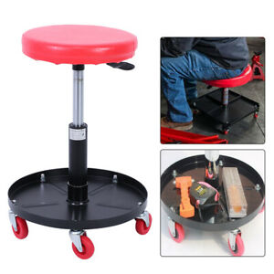 Mechanic Adjustable Rolling Lift Seats Chair Pneumatic Stool Garage Auto Repair