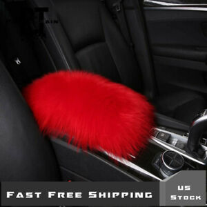 Red Furry Car Universal Fit Center Console Armrest Cushion Trim Pad Cover