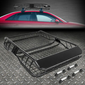 49 X 36 Mild Steel Roof Rack Top Cargo Luggage Carrier Basket Wind Fairing Black