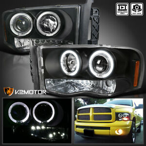For 2002 2005 Dodge Ram 1500 2500 3500 Halo Projector Headlights Lamps Black