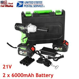 1 2 Inch Electric Cordless Impact Wrench Gun Drill Tool Fast Charge 2 X Battery