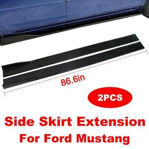 For 99 04 Ford Mustang Side Skirts Extensions Splitters Gloss Black 86 6inch