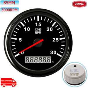 Black 85mm Tachometer 3000 Rpm Diesel Engine With Hourmeter For Truck Car Boat