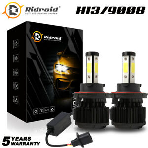 9008 H13 Led Headlight 4side Hi lo Beam Hid Conversion Kit Canbus 6000k White