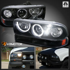 For Black 1998 2004 Chevy S10 Blazer Led Halo Projector Headlights Bumper Lamps