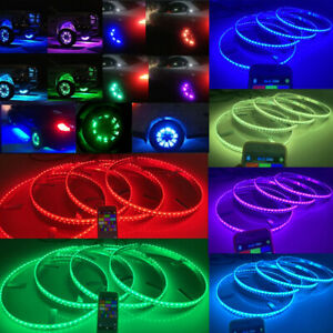 Ip68 15 5 Bluetooth App Control Rgb Color Shifting Led Wheel Rings X4pcs Light