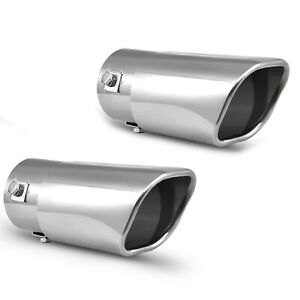 Pack Of 2 Car Muffler Exhaust Tip Stainless Steel Chrome Pipe Fit 1 25 2 Inch