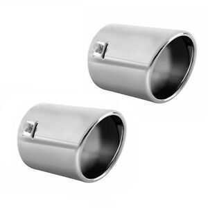 Pack Of 2 Car Muffler Exhaust Tip Stainless Steel Chrome Pipe Fit 1 75 2 5 Inch