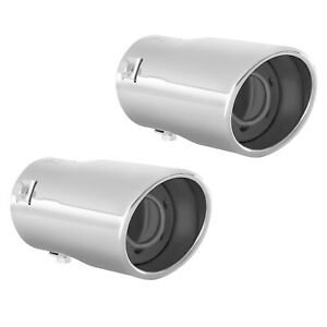 Pack Of 2 Muffler Exhaust Tip Pipe Stainless Steel Chrome Fit 1 75 2 25 Inch