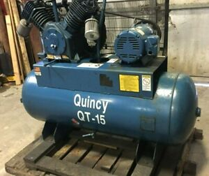 Quincy Qt 15 15hp 230 460 3ph 120gal Tank 2 Stage Air Compressor