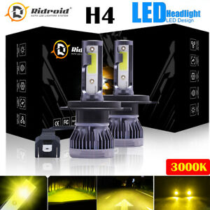 Mini H4 9003 Led Headlight Bulb Fog Driving Drl Light Hi Low Lamp 3000k Yellow