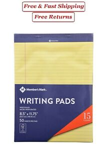 Members Mark Legal Writing Pad perforated Canary 15 pack