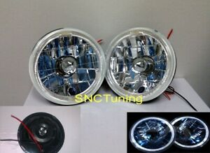 7 H6024 Round Clear Headlights H4 Halo 6012 6014 6015 6017