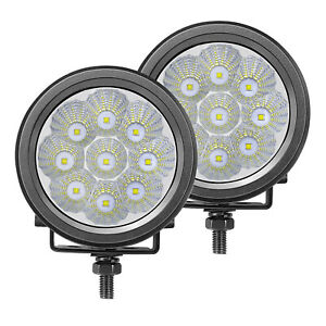 2x Cree Led Work Lights Round Spot Flood Beam Reverse Lamp Driving Offroad 4x4