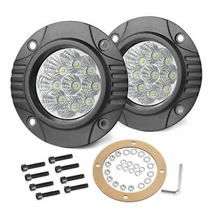 2x 4inch Cree Flush Mount Led Work Light Bar Combo Reverse Round Fog Lamp 4wd