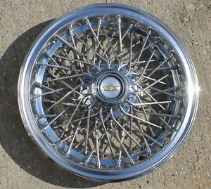 One 1981 1990 Caprice Classic Gm Spoke Wire 15 Hubcap 14039162 Oem