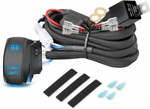 2 Lead Wiring Harness Kit On Off Rocker Switch Relay Led Work Light Pods Bar 12v