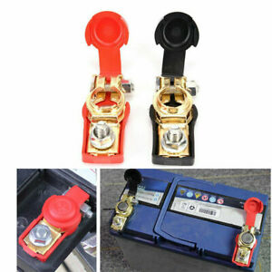 2x Car Battery Terminal Connector Clip Clamp Cover Negative Positive Red Black