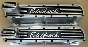 Edelbrock 4260 Aluminum Valve Covers W 4204 Breathers 221 302 351w Sb Ford
