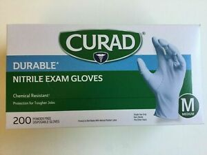 Nitrile Exam Gloves Curad Durable 200 Count Medium 1 Box