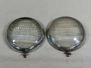 Pair Original Ford Twolite Headlamp Lens And Bezel 8 1 2 Rings Glass Round