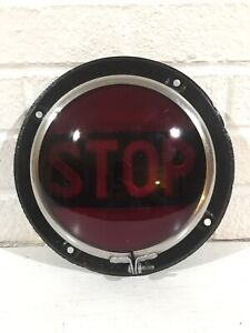 Vintage Stop Red Glass Light Ls 321 Lens W Mounting Bracket Car Auto Truck