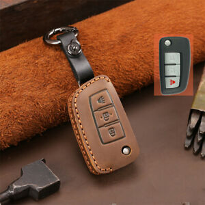Leather Car Flip Remote Key Fob Case Cover Holder For Nissan Rogue Accessories