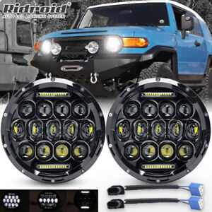 For Fj Cruiser 2007 2014 7 Inch Projector Round Led Headlight Combo Hi Lo Beam