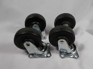 Vtg 2 7 8 Industrial commercial Steel rubber Casters Cart Wheels Swivel Fixed