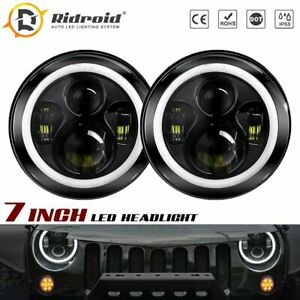 Pair Halo Angle Eyes 7 Inch Round Led Headlights For Jeep Wrangler Jk Tj Lj Cj