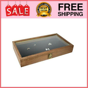 Tempered Glass Top Wood Jewelry Display Case 72 Slot Compartment Ring
