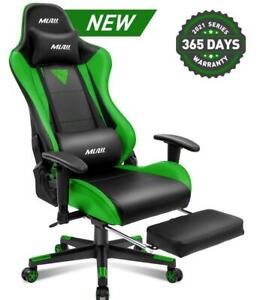 Gaming Chair With Footrest Office Racing Style Computer Swivel Desk Chair Green