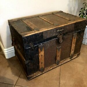 Antique Flat Steamer Storage Trunk Wood Metal Large Treasure Chest 30 X 21 X 18