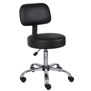 Boss Black Caressoft Drafting Chair Back Cushion Faux Leather Seat Furniture New