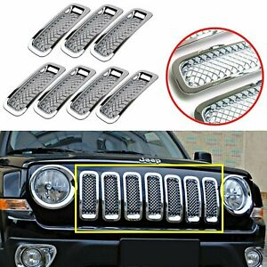 7pcs Front Mesh Grille Grill Insert Cover Trim Frame For Jeep Patriot 2011 2018