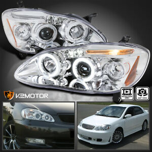 For 2003 2008 Toyota Corolla Led Halo Projector Headlights Lamp Left Right 03 08